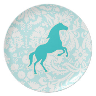 Teal Horse Dinner Plate