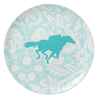 Teal Horse Racing Plate