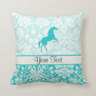 Teal Horse Throw Pillow