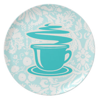 Teal Hot Coffee Party Plates