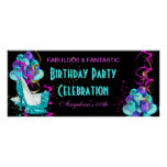 TEAL HOT PINK Banner Birthday Party Celebration 2 Print