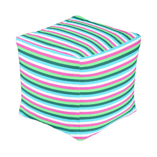 Teal Hot Pink Blue White Colorful Candy Stripes Pouf