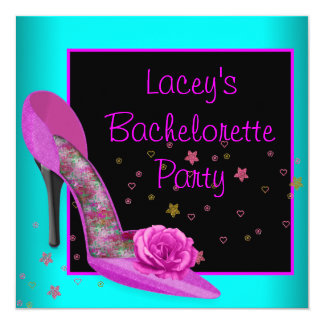 Teal Hot Pink High Heel Corset Bachelorette Party Card