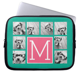 Teal & Hot Pink Instagram 8 Photo Collage Monogram Laptop Sleeve