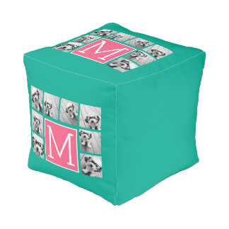 Teal & Hot Pink Instagram 8 Photo Collage Monogram Pouf