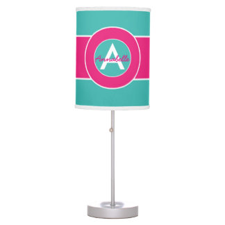Teal Hot Pink Monogram Personalized Table Lamp
