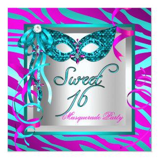 "Teal Hot Pink Zebra Masquerade Sweet 16 Sixteen 5.25"" Square Invitation Card"