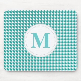Teal Houndstooth Mouse Pad