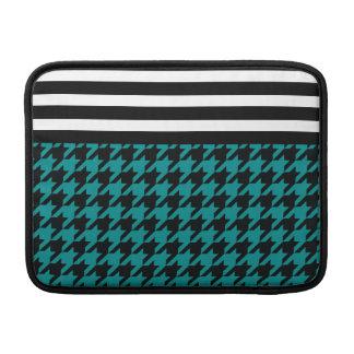 Teal Houndstooth w/ Stripes 2 MacBook Sleeves