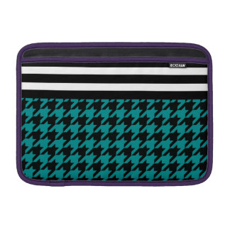 Teal Houndstooth w/ Stripes 2 Sleeves For MacBook Air