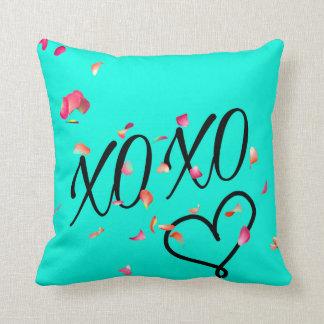 Teal Hugs & Kisses Throw Pillow