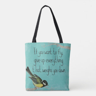 Teal  Inspirational tote bag Pretty song bird