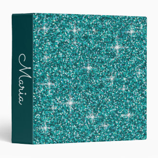 Teal iridescent glitter 3 ring binders