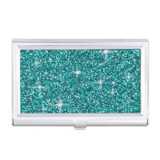 Teal iridescent glitter business card cases