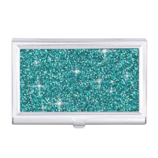Teal iridescent glitter business card holder