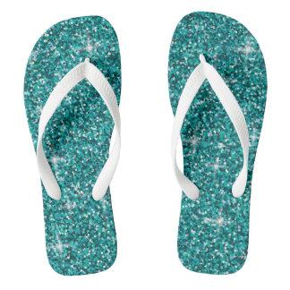 Teal iridescent glitter flip flops