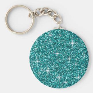 Teal iridescent glitter keychain