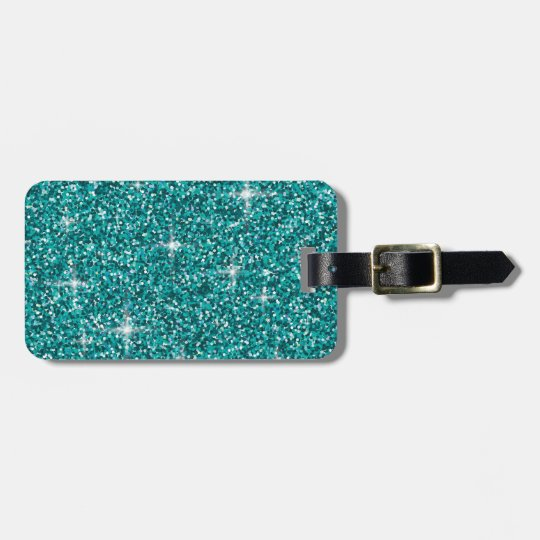 Teal iridescent glitter luggage tag