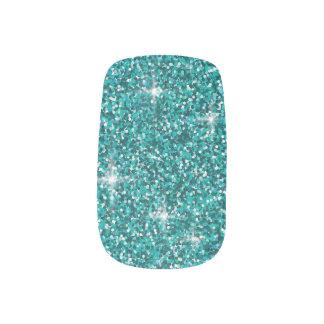 Teal iridescent glitter minx nail art
