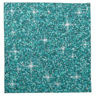 Teal iridescent glitter napkin
