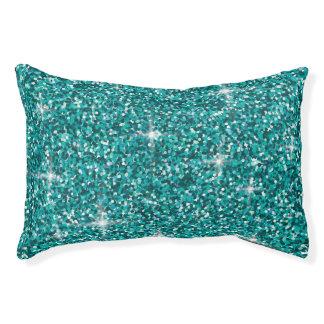 Teal iridescent glitter pet bed
