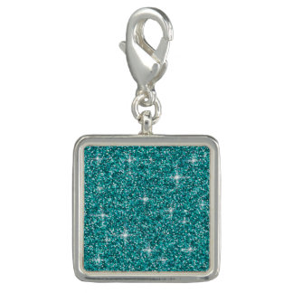 Teal iridescent glitter photo charms
