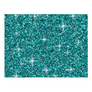 Teal iridescent glitter postcard