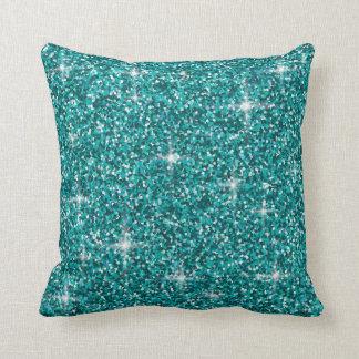 Teal iridescent glitter throw pillow
