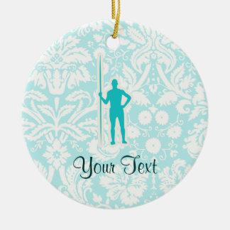 Teal Javelin Throw Ceramic Ornament
