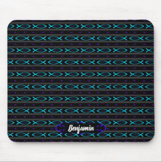 teal Jesus fish pattern Mouse Pad