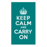 Teal Keep Calm and Carry On Double-Sided Standard Business Cards (Pack Of 100)