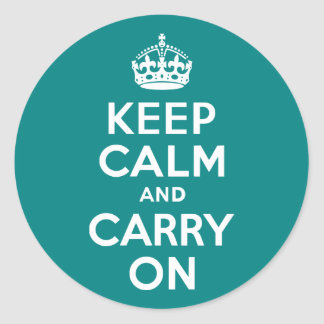 Teal Keep Calm and Carry On Round Stickers