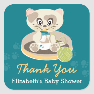Teal Kitten in Diapers Cat Baby Shower Thank You Square Sticker