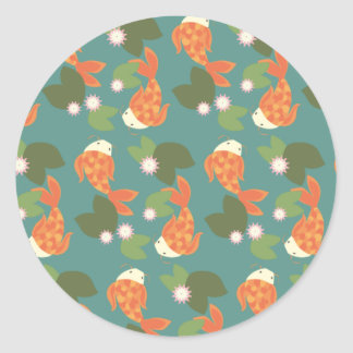 Teal Koi Pond Classic Round Sticker