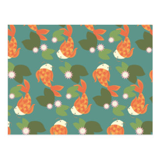 Teal Koi Pond Postcard