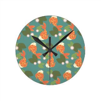 Teal Koi Pond Round Clock