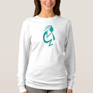 Teal Kokopelli ~ Long Sleeve Women's T-Shirt