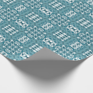 Teal Lacy Circular Kaleidoscope Pattern Wrapping Paper