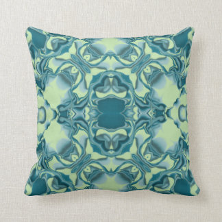 Teal Lacy Kaleidoscope Pattern Throw Pillow