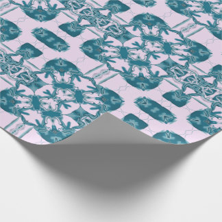 Teal Lacy Square Kaleidoscope Wrapping Paper