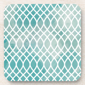 Teal Lattice Watercolor Pattern Coasters