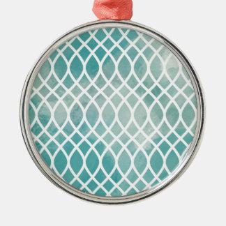 Teal Lattice Watercolor Pattern Silver-Colored Round Ornament
