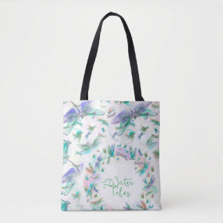 Teal & Lavender Watercolor Dragonfly bag