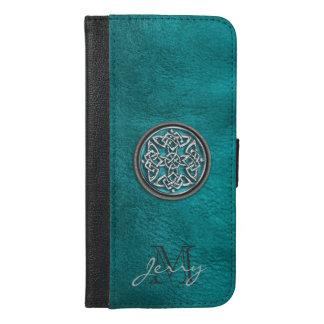 Teal Leather Celtic Knot iPhone 6 Plus Wallet Case