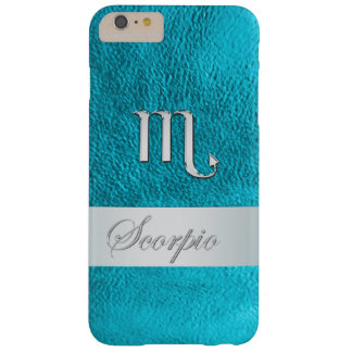 Teal Leather Zodiac Sign Scorpio Barely There iPhone 6 Plus Case