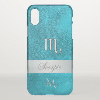 Teal Leather Zodiac Sign Scorpio Monogram iPhone X Case
