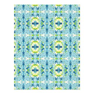 Teal Lemon Artistic Geometric Fractal Pattern Letterhead