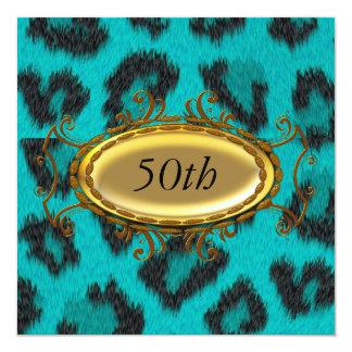 Teal Leopard 50th Birthday Invitation