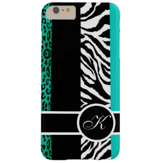 Teal Leopard and Zebra Animal Print Monogram Barely There iPhone 6 Plus Case
