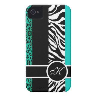 Teal Leopard and Zebra Animal Print Monogram iPhone 4 Case-Mate Cases